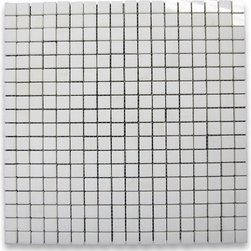 """Stone Center Corp - Thassos White Marble Square Mosaic Tile 5/8x5/8 Polished - Thassos white marble 5/8"""" x 5/8"""" square pieces mounted on 12"""" x 12"""" sturdy mesh tile sheet"""