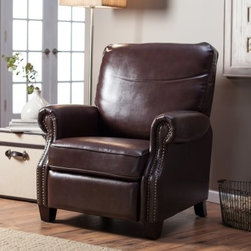 Barcalounger Ridley II Leather Recliner with Nailheads - The perfect pairing for your home office or den, the luxurious Barcalounger Ridley II Leather Recliner with Nailheads is a classic piece that's sure to become a family favorite. This traditionally styled, sophisticated recliner is covered in smooth bonded leather upholstery in rich saddle brown. Nailhead detailing adds a hint of refinement while the easy push-back reclining mechanism and no-sag sinuous springs add all the comfort. A plywood frame built with tough mortis and tenon construction holds this beautiful piece firmly together to ensure years of enjoyment.About BarcaloungerBarcalounger has been committed to detail and quality since they became an industry leader in the 1940's. Barcalounger has always offered luxurious comfort, perfect balance, and fashion forward designs with chairs that just happen to recline. Barcalounger engineers know their recliners will probably get more use than any other piece of upholstered furniture in your home. That's why their standards of quality are more demanding and levels of excellence higher than other upholstery manufacturers.Over the last 70 years Barcalounger has become a household name in reclining chairs. Today's Barcalounger recliner is not your father's (or grandfather's) chair. They have built on their heritage and stellar reputation to create recliners for every lifestyle. From plush and cushy to sleek and sophisticated, there is a Barcalounger recliner to match every person and decor. Barcalounger – because you're comfortable with the best.