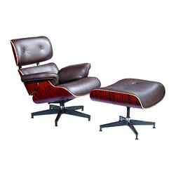 Fine Mod Imports - Eames Style Lounge Chair and Ottoman in Top Grain Italian Leather, Brown - Plywood frame; leather upholstery; foam padding; die-cast steel braces and stainless steel glides. 7-ply laminated veneer in cherry, walnut or Palisander. The seat, backrest shells and armrests joined via aluminum. Five-star swiveling base. Top grain Italian leather.