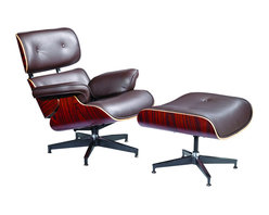 Fine Mod Imports - Eames Style Lounge Chair and Ottoman in Brown Top Grain Italian Leather - Plywood frame; leather upholstery; foam padding; die-cast steel braces and stainless steel glides. 7-ply laminated veneer in cherry, walnut or Palisander. The seat, backrest shells and armrests joined via aluminum. Five-star swiveling base. Top grain Italian leather.