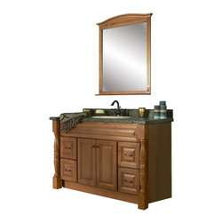 "JSI - JSI Rockport Bathroom Vanity 2 PC Set, Maple, 48"" Base , 36"" Mirror - PLEASE NOTE: Sale is for vanity cabinet and mirror only - Faucet, top, and sink are not included."