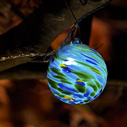 Aurora Glow Solar String Lights, Sea Glass Swirl - These gorgeous, solar-powered handblown glass bulbs look great in the daytime and cast a beautiful glow at night. What's not to love?