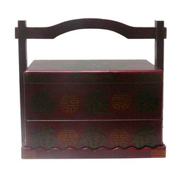 Golden Lotus - Chinese Red Phoenix Dragon Rectangular Wedding Basket Box - This wedding basket is modified from the traditional Chinese wedding basket. It is made of cardboard paper and covered with artificial leather.