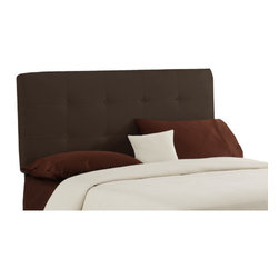 """Skyline Furniture - Button Tufted Upholstered Headboard - Features: -Button tufted headboard.-Makes a great addition to any bed in your home.-Comfortable casual look.-Upholstered in soft rich velvet.-Spot clean.-Handmade in the USA.-Manufactured with a sturdy solid pine frame.-Velvet chocolate color finish.-Button Tufted collection.-Gloss Finish: No.-Frame Material: Pine wood.-Wall Mounted: Yes.-Reversible: No.-Media Outlet Hole: No.-Built In Outlets: No.-Hardware Finish: Black metal.-Finished Back: No.-Distressed: No.-Hidden Storage: No.-Freestanding: No.-Frame Included: No.-Drill Holes for Frame: Yes.-Frame Compatibility: Attaches to a standard metal bed frame.-Commercial Use: No.-Recycled Content: No.Specifications: -EPP Compliant: No.-CPSIA or CPSC Compliant: Yes.-CARB Compliant: Yes.-JPMA Certified: No.-ASTM Certified: No.-ISTA 3A Certified: Yes.-PEFC Certified: No.-General Conformity Certificate: Yes.-Green Guard Certified: No.Dimensions: -Overall Product Weight (Size: California King): 40 lbs.-Overall Product Weight (Size: Full): 31 lbs.-Overall Product Weight (Size: King): 45 lbs.-Overall Product Weight (Size: Queen): 33 lbs.-Overall Product Weight (Size: Twin): 24 lbs.-Leg Height: 6"""".-Bottom of Headboard to Floor: 24"""".Assembly: -Assembly Required: Yes.-Tools Needed: Allen wrench, wrench.-Additional Parts Required: No.Warranty: -Skyline Furniture provides 1 year limited warranty (except fabric).-Product Warranty: 1 Year limited (Excludes fabric)."""