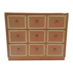 Pre-owned 1940s Dorothy Draper Dresser in Light Pink - This beautiful Dorothy Draper custom lacquered dresser from the 1940s features three drawers with silver ring handles. It is in beautiful condition and would make a gorgeous addition to any room. The color is light pink.      The seller is offering another dresser of the same design in hot pink, listed separately. Please see seller's other listings.