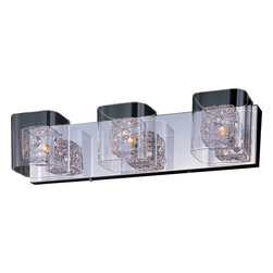 ET2 Contemporary Lighting - ET2 Contemporary Lighting E22833-18PC Gem 3 Light Bathroom Vanity Lights in Poli - The Gem Collections clear, square-glass cubes float on a Polished Chrome metal frame. Suspended inside the cubes, woven metal cubes sparkle with a crystal gem embedded on the side. The xenon lamps beam crystal clear light to bring the gem to life.