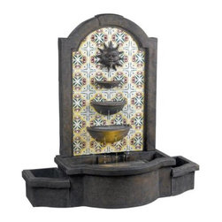 Kenroy - Kenroy-50721MD-Cascada Floor Fountain - 12 points of water trickle the 3 tiered bowls of Cascada making for wonderful water sounds. This traditional Mexican motif honors the sun on a silk screened patterned background.