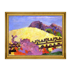 """Paul Gauguin-18""""x24"""" Framed Canvas - 18"""" x 24"""" Paul Gauguin Parahi te Marae (also known as There Lies the Temple) framed premium canvas print reproduced to meet museum quality standards. Our museum quality canvas prints are produced using high-precision print technology for a more accurate reproduction printed on high quality canvas with fade-resistant, archival inks. Our progressive business model allows us to offer works of art to you at the best wholesale pricing, significantly less than art gallery prices, affordable to all. This artwork is hand stretched onto wooden stretcher bars, then mounted into our 3"""" wide gold finish frame with black panel by one of our expert framers. Our framed canvas print comes with hardware, ready to hang on your wall.  We present a comprehensive collection of exceptional canvas art reproductions by Paul Gauguin."""