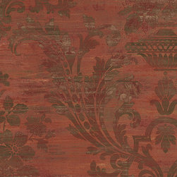 Large Scale Damask in Burgandy - CH22559 - Collection:Grand Chateau