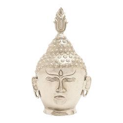 Peaceful Aluminum Buddha Head - Description: