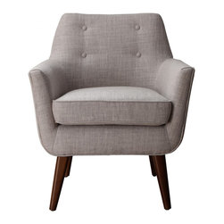 TOV Furniture - Clyde Beige Linen Chair - Perched on solid wood legs, this Clyde Chair has a clean Mid-Century aesthetic with the small scale button tufting and conical stained legs.