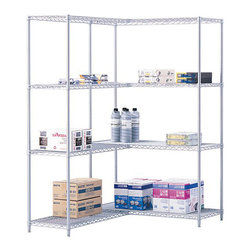 "Safco - Safco 48"" x 24"" Industrial Extra Shelf Pack in Gray - Safco - Wire Storage - 5296GR - Extra shelves for Model 5294 Industrial Wire Shelving. Strong welded wire construction for a 800 lbs. capacity (with weight evenly distributed). Shelves adjust in 1"" increments and attach to existing shelving in minutes without tools. Snap-together clips included. Available in Black or Metallic Gray powder coat finish. Sold in packs of two."