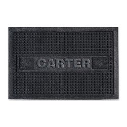 Frontgate - WATER & DIRT SHIELD ™ Personalized Door Mat - Minimizes slip hazards and water damage to floors. Dries quickly, won't rot or fade. Suitable for all floor types. Personalize it with up to 10 characters. Made in the USA. This super-thirsty WATER & DIRT SHIELD ™ Personalized Door Mat features side channels that quickly drain away water before it is tracked into your house or office.  . . . . . Note: Do not place on wet floors. Please note, personalized items are nonreturnable