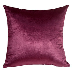 Pillow Decor - Pillow Decor - Milano 20 x 20 Purple Decorative Pillow - The Milano 20 x 20 Purple Decorative Pillow is a luxurious, high sheen accent pillow, made from an exceptionally soft but durable fabric. The fabric has a flat brushed velveteen finish through which fine, narrow, horizontal lines are cut. This richly colored pillow is elegant and sophisticated and would be suitable in formal and informal settings.