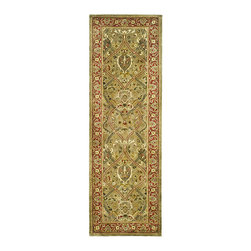 Safavieh - Handmade Mahal Green/ Rust New Zealand Wool Runner (2'6 x 8') - Traditional rug features a light green background with a rust border Area rug displays stunning accents of olive, ivory, rust and gold spread across its beautiful pattern Stylish runner hand-tufted of 100-percent New Zealand wool