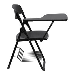 Flash Furniture - Black Plastic Chair with Right Handed Tablet Arm and Book Basket - This is the perfect tablet arm chair for any classroom or training room setting. The open back design allows for proper air flow with the added safety textured seat and back. This tablet arm chair will endure the test of time at an amazing value.