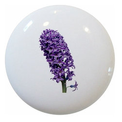 Carolina Hardware and Decor, LLC - Purple Hyacinth Ceramic Knob - New 1 1/2 inch ceramic cabinet, drawer, or furniture knob with mounting hardware included. Also works great in a bathroom or on bi-fold closet doors (may require longer screws). Item can be wiped clean with a soft damp cloth. Great addition and nice finishing touch to any room!