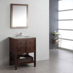 Simpli Home - Simpli Home Burnaby 24-in. Single Bathroom Vanity Multicolor - HHV022A - Shop for Bathroom from Hayneedle.com! There's a brilliant understated elegance to the Simpli Home Burnaby 24-in. Single Bathroom Vanity. Contemporary style and function are great match in this vanity. Two drawers and a wicker basket offer plenty of storage for bathroom necessities so there's the function. Style-wise this vanity features a beautiful dark brown finish and a unique design which pairs magnificiently with a flecked granite top and undermounted white sink. Durable hardwood construction ensures lasting longevity. Features three pre-drilled holes for a standard 4-inch faucet. An optional Burnaby mirror is available pairing wonderfully with this vanity.About Simpli HomeSimpli Home is a quickly growing manufacturer of finely constructed modern furniture designed to transition perfectly into their customers homes. They produce a wide variety of furnishings from coffee tables to bathroom vanities. Only the strongest most durable materials are used to construct the companys contemporary stylish and functional products.
