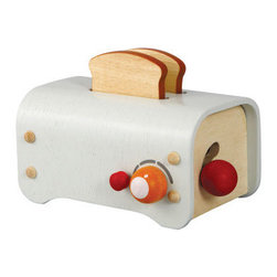 Plan Toys Large Scale Toaster | All Modern Baby - This cuttle little toaster encourages your children to learn about food and engage in pretend play. Made with environmentally-safe materials, this simple gadget has pop-up action and a timer. Perfect for three and  up.