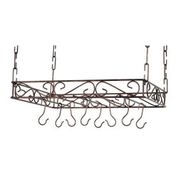 Group 5 Marketing - Scrolled Iron Rectangular Ceiling Pot Rack - This sturdy metal pot rack offers easy storage and display of cookware. this pot rack makes a perfect addition to any kitchen or dining room. it mounts easily to the ceiling in order to maximize available space. Scrolled iron work, 15 Pot hooks.