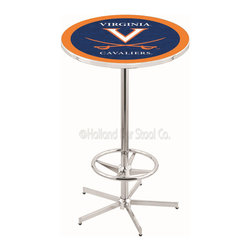 Holland Bar Stool - Holland Bar Stool L216 - 42 Inch Chrome Virginia Pub Table - L216 - 42 Inch Chrome Virginia Pub Table  belongs to College Collection by Holland Bar Stool Made for the ultimate sports fan, impress your buddies with this knockout from Holland Bar Stool. This L216 Virginia table with retro inspried base provides a quality piece to for your Man Cave. You can't find a higher quality logo table on the market. The plating grade steel used to build the frame ensures it will withstand the abuse of the rowdiest of friends for years to come. The structure is triple chrome plated to ensure a rich, sleek, long lasting finish. If you're finishing your bar or game room, do it right with a table from Holland Bar Stool.  Pub Table (1)