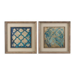 Uttermost - Uttermost Stained Glass Indigo Art Set of 2 - Reclaimed wood medium tone with taupe wash and a matching filet. Oatmeal linen mat. Prints are accented by oatmeal linen mats then surrounded by medium toned reclaimed wood frames with a taupe wash and matching filet. Prints are under glass.