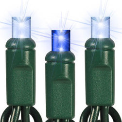 35 Light - LED - 12 ft. String - Twinkling - Blue and Cool White - Wide Angle - Maximize your lighting drama with blue LED wide angle mini Christmas lights. The 35 bulbs are spaced 4 inches apart on 12 feet of green wire making them ideal to wrap tree trunks and nestle in wreaths or garlands. A truly spectacular sight, as every 5th LED bulb, twinkles a cool white glow! UL listed for indoor/outdoor use, 80 sets can be safely combined end-to-end. Cool to the touch and 10 times more energy efficient than incandescent, these patented wide angle LEDs are equally brilliant no matter where they are pointed and will be the highlight of your holiday lighting design.