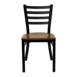 """Flash Furniture - HERCULES Series Black Ladder Back Metal Restaurant Chair - Cherry Wood Seat - Provide your customers with the ultimate dining experience by offering great food, service and attractive furnishings. This heavy duty commercial metal chair is ideal for Restaurants, Hotels, Bars, Lounges, and in the Home. Whether you are setting up a new facility or in need of a upgrade this attractive chair will complement any environment. This metal chair is lightweight and will make it easy to move around. This easy to clean chair will complement any environment to fill the void in your decor.; Heavy Duty Metal Restaurant Chair; Ladder Style Back; .75"""" Thick Plywood Seat; Cherry Finished Wood Seat; 18 Gauge Steel Frame; Welded Joint Assembly; Curved Support Bar; Black Powder Coated Frame Finish; Plastic Floor Glides; Designed for Commercial Use; Suitable for Home Use; Assembly Required: Yes; Country of Origin: China; Warranty: 2 Years; Weight: 24 lbs.; Dimensions: 32.25""""H x 16.5""""W x 17""""D"""