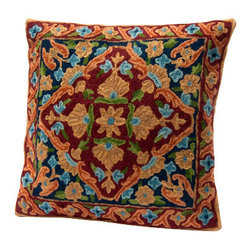 Sitara Collections - Floral Cushion Cover from Kashmir with Dense Chain Stitch Embroidery - Found: a Vivid accent Piece That's Guaranteed to Perk Up any Room. Royal Blue, Claret Red, and Jade Green are Tempered by a soft apricot for a Multi-tomal affect That's Undeniably sophisticated. this Unique Piece is Handmade in india's Kashmir Regiom From Cottom Backing with Wool Thread.