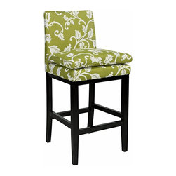 angelo:HOME - angelo:HOME Marnie 30 in. Bar Stool - Spring Leaf Multicolor - BS30-PMF62-LBA - Shop for Stools from Hayneedle.com! Whoever said home bar areas had to have dark stuffy decors clearly hasn't seen the angelo:HOME Marnie 30 in. Bar Stool - Spring Leaf. Sure to add some serious spring to your kitchen or home bar this bar stool features 100% polyester upholstery in light green. A charming white leaf print is refreshingly fab and the espresso-finished wood frame creates a chic contrast. And don't forget the seat - it features a cozy pillow top that's perfect for long conversations.About angelo:HOME:When he was 6 Angelo Surmelis and his family moved from Greece to the United States. In their new home 6-year-old Angelo started dragging furniture around rearranging it. From that early age he believed that your space - and the way it's arranged - can change the way you feel. This philosophy has landed him on design series on TLC Lifetime The Style Network and HGTV as well as several different television talk shows. Now with Angelo's line of furniture and accessories you can change your space - and the way you feel - quickly and affordably.