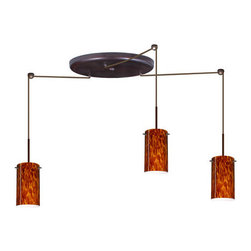 Besa Lighting - Besa Lighting 3BW-440418 Stilo 3 Light Cord-Hung Mini Pendant - Stilo 7 is a classic open-ended cylinder of handcrafted glass, a shape that will stand the test of time. Our Amber Cloud glass is full of floating, vibrant warm tones that range from light gold to deep amber. When lit, the humid color palette illuminates to exude a harmonious display. This decor is created by rolling molten glass in small bits of brown hues called frit. The result is a multi-layered blown glass, where frit color is nestled between an opal inner layer and a clear glossy outer layer. This blown glass is handcrafted by a skilled artisan, utilizing century-old techniques passed down from generation to generation. Each piece of this decor has its own artistic nature that can be individually appreciated. The cord pendant fixture is equipped with three (3) 10' SVT cordsets and a 3-light large round canopy, three (3) suspension stemhooks included.Features: