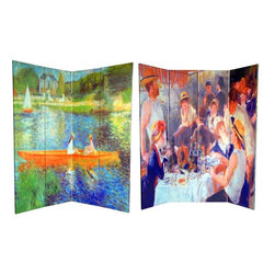 Oriental Furniture - 6 ft. Tall Double Sided Works of Renoir Room Divider - the Seine/The Luncheon - Make a lasting impression with two masterworks by the consummate turn of the century French painter Pierre-Auguste Renoir. On the front is the luminous Luncheon at the Boating Party, circa 1881, a jovial scene of Renoir's friends deep in merriment, featuring his future wife Aline Charigot in the foreground snuggling with a lap dog. On the back, the master impressionist evokes an uncanny blend of cosmopolitan flair and rustic charm with the serene The Seine at Asnieres, circa 1879. These two masterpieces, virtuosic in their use of color and light, will bring the radiance of the Belle +poque into your living room, dining room, bedroom, studio, or place of business. This four panel screen has different images on each side, as shown.