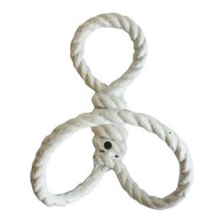 White Rope Wall Hook - Both current and classic, this iron rope hook would look awesome in a mudroom or a bathroom for a little hint of additional interest in an otherwise small space.