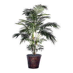 Vickerman - 6' Tropical Palm Extra Full - 6' Tropical Palm Extra Full Three or more Tropical palms, Dark brown Rattan container. American made excelsior