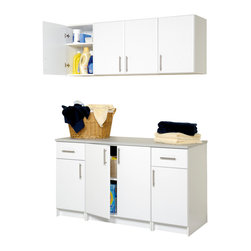 Prepac - Elite 6-Pc Laundry Cabinet Storage Set in Whi - Great for a garage, laundry room or workshop, this cabinet set has a bottom component with two middle cabinets plus a cabinet with drawer on either end. Top has four cabinets with one adjustable shelf. In white finish. Update your laundry room with a contemporary look. There's even a workspace so you have room to fold clothes. * Includes two 16 in. stackable wall cabinets, 16 in. base cabinets, one 32 in. stackable wall cabinet and 32 in. base cabinet. 16 in. base cabinet with heavy duty drawer with metal sides. One adjustable shelf. 32 in. base cabinet with one adjustable shelf. 32 in. stackable wall cabinet with one adjustable shelf. 16 in. stackable wall cabinet with one adjustable shelf. Stylish brushed metal handles. Door with high quality European-style 6-way adjustable hinges that mount to open left or right. MDF door and drawer front with profiled rounded edges. Durable laminate finish. CARB-compliant. Warranty: Five years limited. Made from laminated composite woods with a sturdy MDF backer. Made in North America. Assembly required. 16 in. base cabinet: 16 in. W x 24 in. D x 36 in. H. 32 in. base cabinet: 32 in. W x 24 in. D x 36 in. H. 32 in. stackable wall cabinet: 32 in. W x 16 in. D x 24 in. H. 16 in. stackable wall cabinet: 16 in. W x 16 in. D x 24 in. H