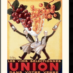 Amanti Art - Union, 1950 Framed Print by Robys - Robert Wolff - This charming vintage label exudes a celebratory spirit. Two well dressed waiters each carry a bottle of their finest wines - one red and one white, and they share the work of lifting an oversized glass filled with grapes.