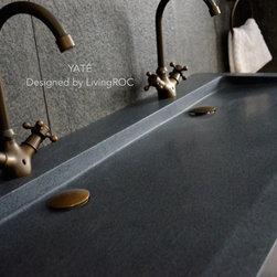 "YATE 47""x19"" DOUBLE TROUGH TRENDY GRAY GRANITE BATHROOM VESSEL SINK - Reference: BB513-1-US"