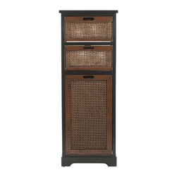 Safavieh - Marcia Storage Unit - This petit beauty packs a punch. The Marcia Storage unit seduces the eye with woven cane-inspired detail, but quickly warms the heart with three oversized storage cubbies inside its chic dark brown pine wood case. It's an instant organizer for a mudroom, kitchen or stylish office space.