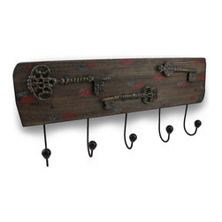 Zeckos - Decorative Distressed Finish Antique Key Wall Hook Hanging - Add a decorative vintage look to your wall and your home with this 22.75 inch long, 10 inch high, 3 inch deep (58 X 25 X 8 cm) wall hook hanging that features 3 weathered finish metal antique key accents atop a faux distressed finish wood plank with 5 cast resin tipped hooks for hanging anything from jackets, hats and the dog's leash to robes, towels and other decorative items in the entryway, bathroom, bedroom or the office It easily mounts to the wall using the keyhole hangers on the back, and it makes a wonderful housewarming gift sure to be enjoyed