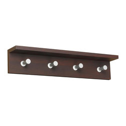 Safco - Contempo 4 Hook Wooden Wall Rack in Mahogany Finish - Compact design meets contemporary style with this Contempo collection wall rack. The wood rack impresses with a mahogany finish, while 4 sleek aluminum hangers show a conical profile and easily hold up to 10 pounds. Mounting hardware is included for easy installation. Includes mounting hardware. 2 in. tapered shaft. 1 in. head. Capacity of 10 lbs. per hook. 0.75 in. material thickness. Aluminum hooks are conical shaped. Contemporary design. Consists of four hooks. Made from compressed wood and aluminum. No assembly required. 24 in. W x 4 in. D x 4.75 in. H (4.75 lbs.). Assembly InstructionMake a great impression with your guests rain or shine! Make sure each guest has a place for their hats, coats and scarves. This costumer can greet guests in your reception area, lobby, office, waiting room, training center, conference room or classroom. Also great in any entrance area such as an atrium or foyer. And create space for your guests to hang their hats in a restaurant, food court, warehouse or any place your guests visit. Now all your guests will feel like they're at home.