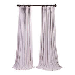 Exclusive Fabrics & Furnishings, LLC - Signature Off White Doublewide Blackout Velvet Curtain - 100% Poly Velvet. 3 Pole Pocket. Plush Blackout Lining. Imported. Dry Clean Only.