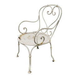 Pre-owned Vintage French Iron Garden Arm Chair - A small garden arm chair that can be used outdoors or indoors. A lovely and romantic piece to add to your collection!