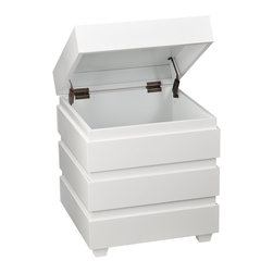"Holly & Martin - Holly & Martin Lavrock End Trunk - White X-8467KC - Small space storage unhinged. The Lavrock End Trunk hits the mark for both style and storage. Conveniently conceals clutter inside and shines as an end table with distinctive edging and clean lines. This sleek white end trunk balances the living room, but don't box it in there - use your imagination to work it in anywhere.  - OVERVIEW                                                                                              - Safety hinge to reduce risk of slam injuries                                                          - Padded feet to prevent scuffs                                                                         - Linear edging for a modern style                                                                      - Glossy white finish                                                                                   - DETAILS                                                                                               - Tabletop: 18.5"" W x 18.5"" D (to lip)                                                                  - Interior: 17.75"" W x 17.75"" D x 16.75"" H                                                              - Clearance below: 15"" W x 15"" D x 1.75"" H                                                              - Supports up to: 40 lb. (top), 40 lb. (interior)                                                       - Materials: MDF, birch veneer, solid pine                                                              - Assembly: required                                                                                    - Overall: 20"" W x 20"" D x 23.75"" H"
