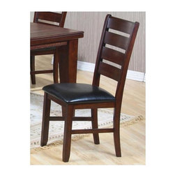 Coaster - Imperial Dining Side Chair - Set of 2 - Set of 2. Casual style. Ladder back. Thick tapered legs. Black upholstered cushioned seat. Made from hardwood solids and wood veneers. Rustic oak finish. 22.25 in. W x 18.63 in. D x 40 in. H. WarrantyPull up a seat and compliment your dining room table with the charming simplicity of this side chair. The Imperial collection offers a relaxed dining room style with bold and attractive character. Fun, inviting and comfortable, welcome the Imperial group into your home to create an enjoyable dining atmosphere!
