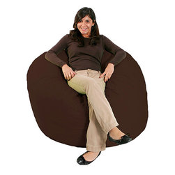 Comfort Research - Jumbo FufSack Chocolate Brown Microfiber Bean Bag Chair - Sit in style in a comfortable bean bag chair. This FufSack bean bag has polyester microsuede materials and foam inside,so it is comfortable enough to lounge in all day. The chocolate-brown tone is great for any room of the home.