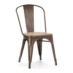 Zuo - Elio Dining Chair, Rustic Wood - This Elio Dining Chair, reminiscent of old Parisian bistros, is a classic chair that can go in a variety of dining areas.  This chair, made of steel, is quaint and durable.  The Elio Dining Chair is available in several vintage colors that can add a pop of color to your space.  Choose from gunmetal, white, antique black gold, red or rustic wood to add the perfect accent seating at your dining table.  No matter the size of your dining table, you can add as few or as many of the Elio Dining Chair as you like. Sold as a set of two (package cannot be broken); price shown is for one.