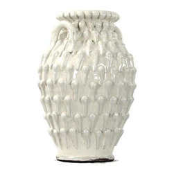 """Zentique - White Teardrop Urn by Zentique - A soft glaze finishes the uniquely textured White Teardrop Urn by Zentique. This piece is beautiful on it's own or it can be used for a decorative floral display or some natural branches or sticks. Think about including it with other white decorative pieces creating a monochromatic display. (ZEN) 10"""" wide x 18"""" high x 10"""" deep"""