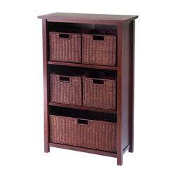 Winsomewood - Milan 6pc Cabinet/shelf And Baskets; Shelf, One Basket, 4 Small Baskets; 3 Carto - Simple Design yet function and attractive storage shelf with 4 wired baskets is a perfect place to store your goodies. Perfect for every room in the house. Shelf needs assembly.
