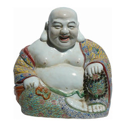 Golden Lotus - Happy Buddha Happy Face With Prayer Beads And Money Bag - Hand made porcelain Happy Buddha statue for feng shui, this happy face Happy Buddha is holding a prayer beads one hand and money bag on other hand.