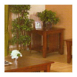 Alpine Furniture - Mission Style End Table - Features: -Rubber wood solids with oak veneer.-Finish: Medium Oak.-Mission collection.-Collection: Mission.-Distressed: No.Warranty: -6 Months manufacturer's warranty.